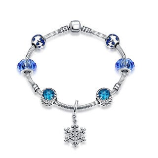 Hakbaho Jewelry 0.925 Sterling Silver Blue Snowflake Charm Bracelet