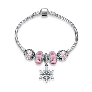 Hakbaho Jewelry Sterling Silver Duo Coral CZ Snowflake Charm Bracelet