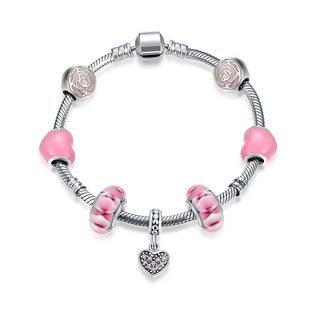 Hakbaho Jewelry Sterling Silver Bubblegum Color CZ Bracelet