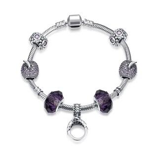Hakbaho Jewelry .925 Sterling Silver Purple Citrine CZ Charm Bracelet