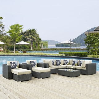Sojourn 10-piece Outdoor Patio Sunbrella Sectional Set