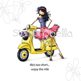 "Stamping Bella Cling Stamp 6.5""X4.5""-Uptown Girl Vienna & Her Vespa"