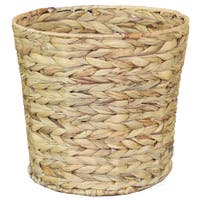 Natural Water Hyacinth Round Waste Basket
