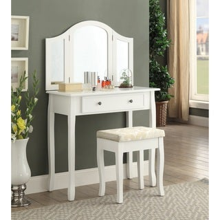 Sanhy White Wood Vanity, Makeup Table And Stool Set