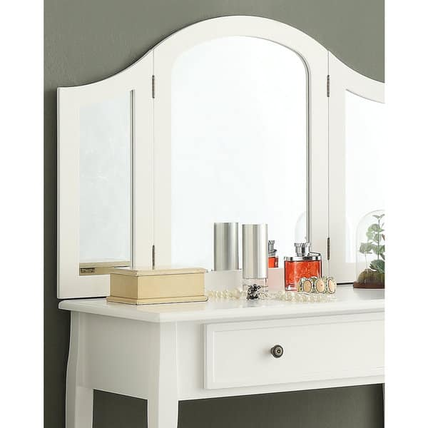 Sanhy White Wooden Vanity Make Up Table And Stool Set