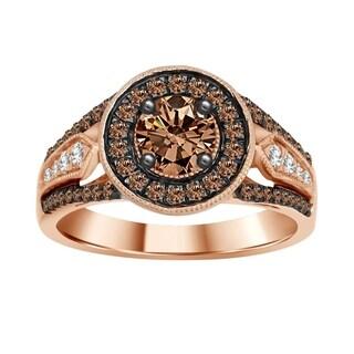 14k Rose Gold 1ct TDW Round Chocolate Diamond Engagement Ring