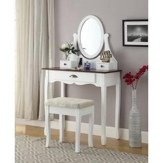 Interhy Wooden Vanity, Make Up Table and Stool Set