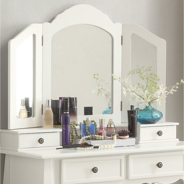Clay Alder Home Clark White Wooden Vanity, Make Up Table And Stool Set by Clay Alder Home
