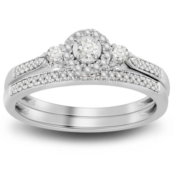 10k white gold 1/5ct tdw round diamond bridal set