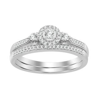 10k White Gold 1/5ct TDW Round Diamond Bridal Set Ring