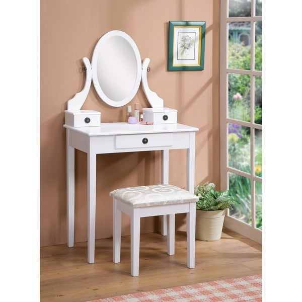 Copper Grove Alcea White Wooden Vanity with Makeup Table and Stool. Opens flyout.