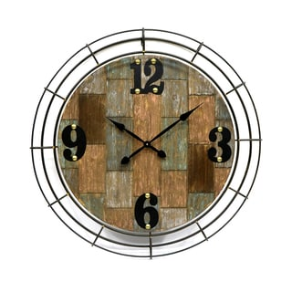 Rustic-style Round Metal Wall Clock