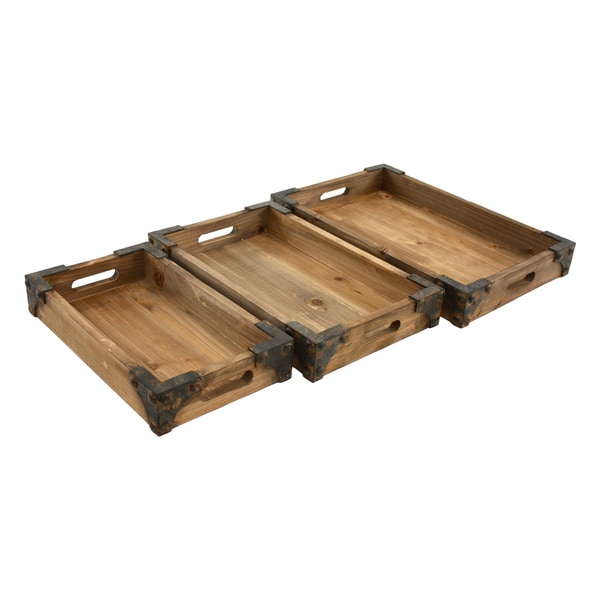 Brighton Pine Wood Trays (Pack of 3)