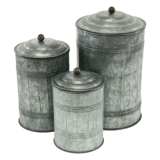 Silvertone Galvanized Metal Canisters (Pack of 3)