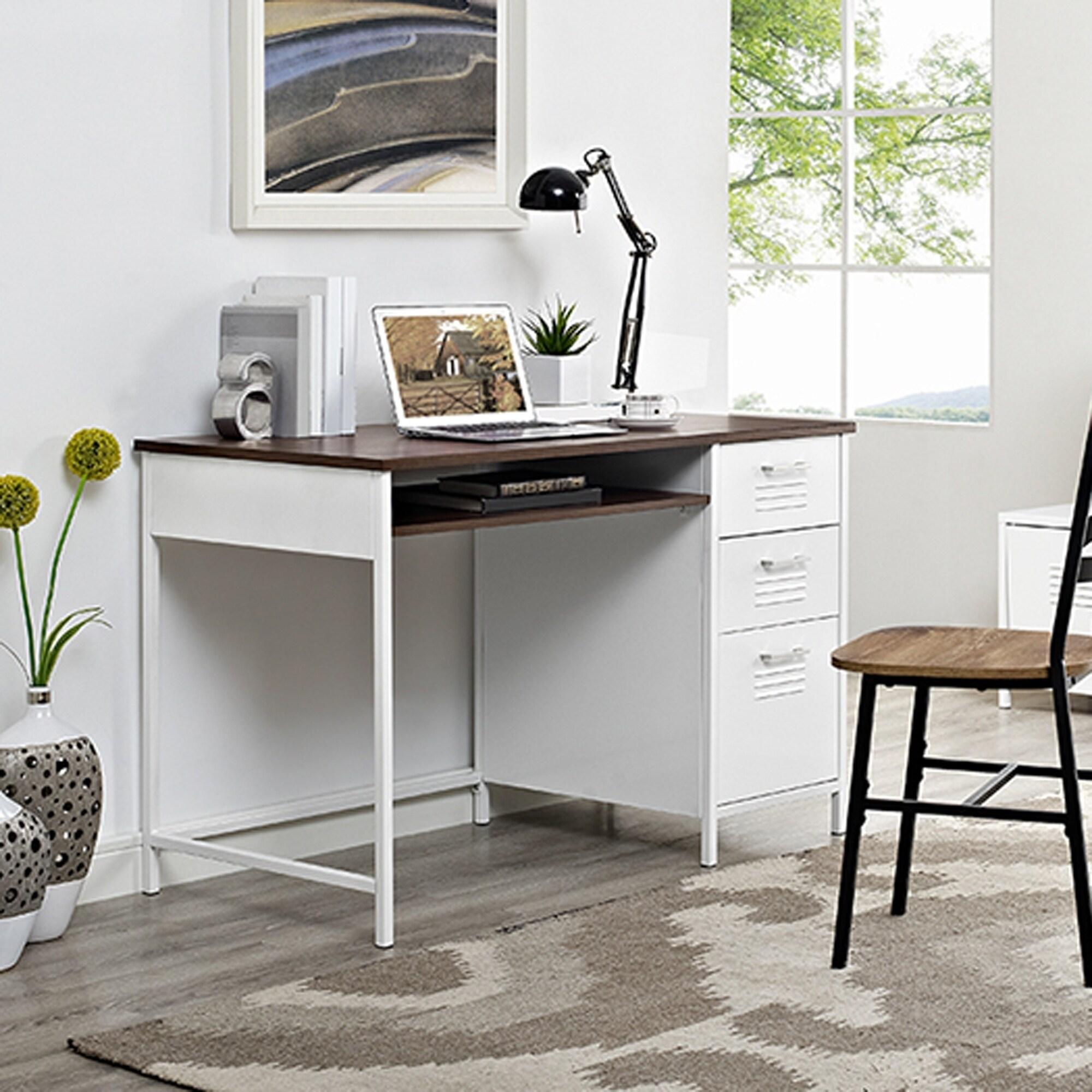 """48"""" Metal Locker Style Desk with Wood Top, Brown"""