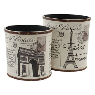 White Wood and Faux Leather Paris Trash Canisters (Set of 2)