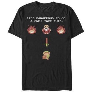 Nintendo Men's 'Dangerous To Go Alone Take This' Zelda Sword Pixelated Graphic Black Cotton Extended Sizes T-shirt