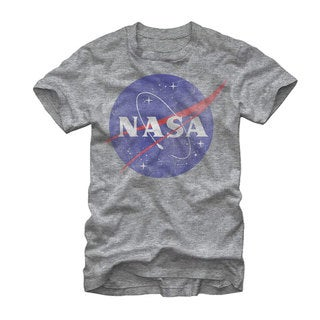 NASA Men's Classic Logo Grey Cotton-blend Extended Sizes Graphic T-shirt