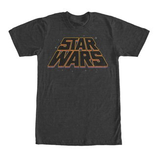 Star Wars Men's Slanted Retro Color Logo Black Cotton Extended Sizes Graphic T-shirt
