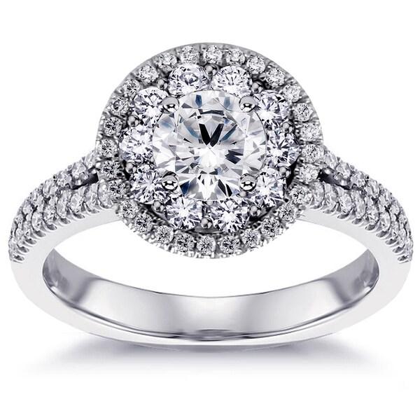 14k White Gold 2ct Split Shank Halo Diamond Engagement Ring (G-H, SI1-SI2)