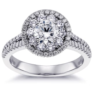 14k White Gold 2ct Split Shank Halo Diamond Engagement Ring (G-H, SI1-SI2)