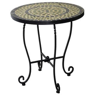 Shannon 20-inch Round Ceramic Mosaic Outdoor Side Table with Tile Top and Base