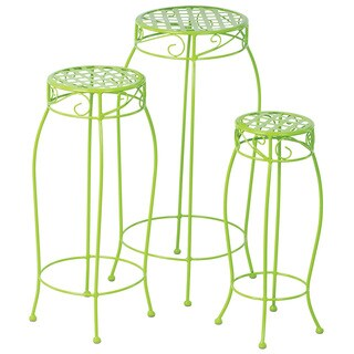 Martini Key Lime Green Wrought Iron Plant Stands (Pack of 3)