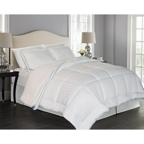 kathy ireland 300 Thread Count Rayon from Bamboo Pinstripe Down Alternative Comforter