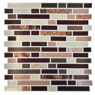 "Avalon Copper 12"" x 12"" Self Adhesive Backsplash Peel & Stick Vinyl Wall Tile-3 Tiles/3 SQ Ft"