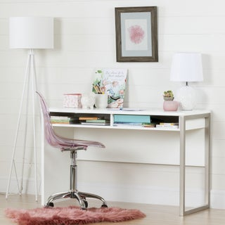 Liberty South Shore Interface Desk and Office Chair with Wheels (Option: White - White Finish/Pink Finish)