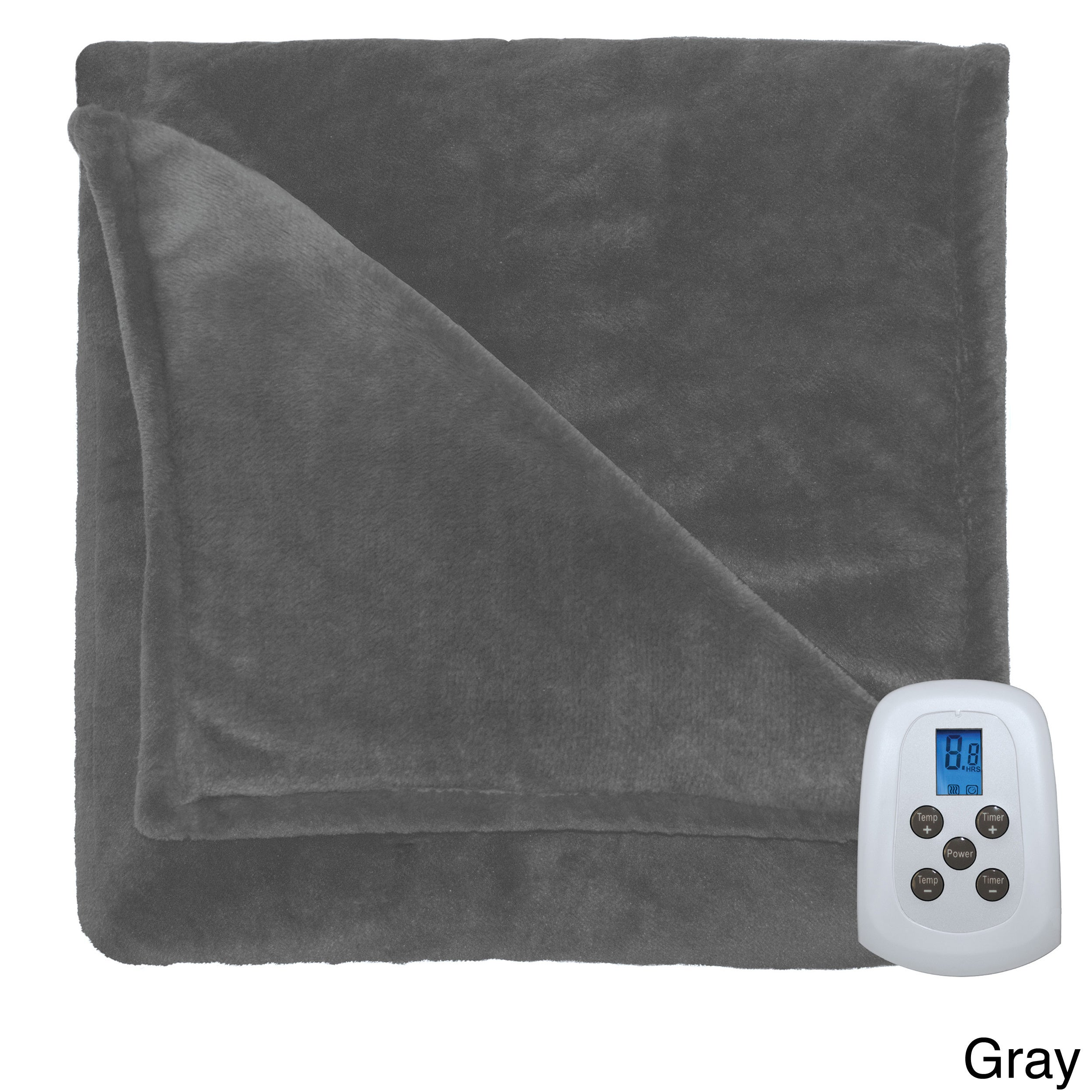 Serta Silky Plush Heated Electric Warming Blanket with a ...