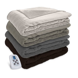Serta Silky Plush Heated Electric Warming Blanket with a Programmable Digital Controller
