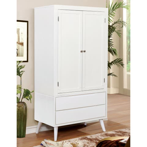 Furniture of America Fopp Mid-Century Solid Wood Armoire