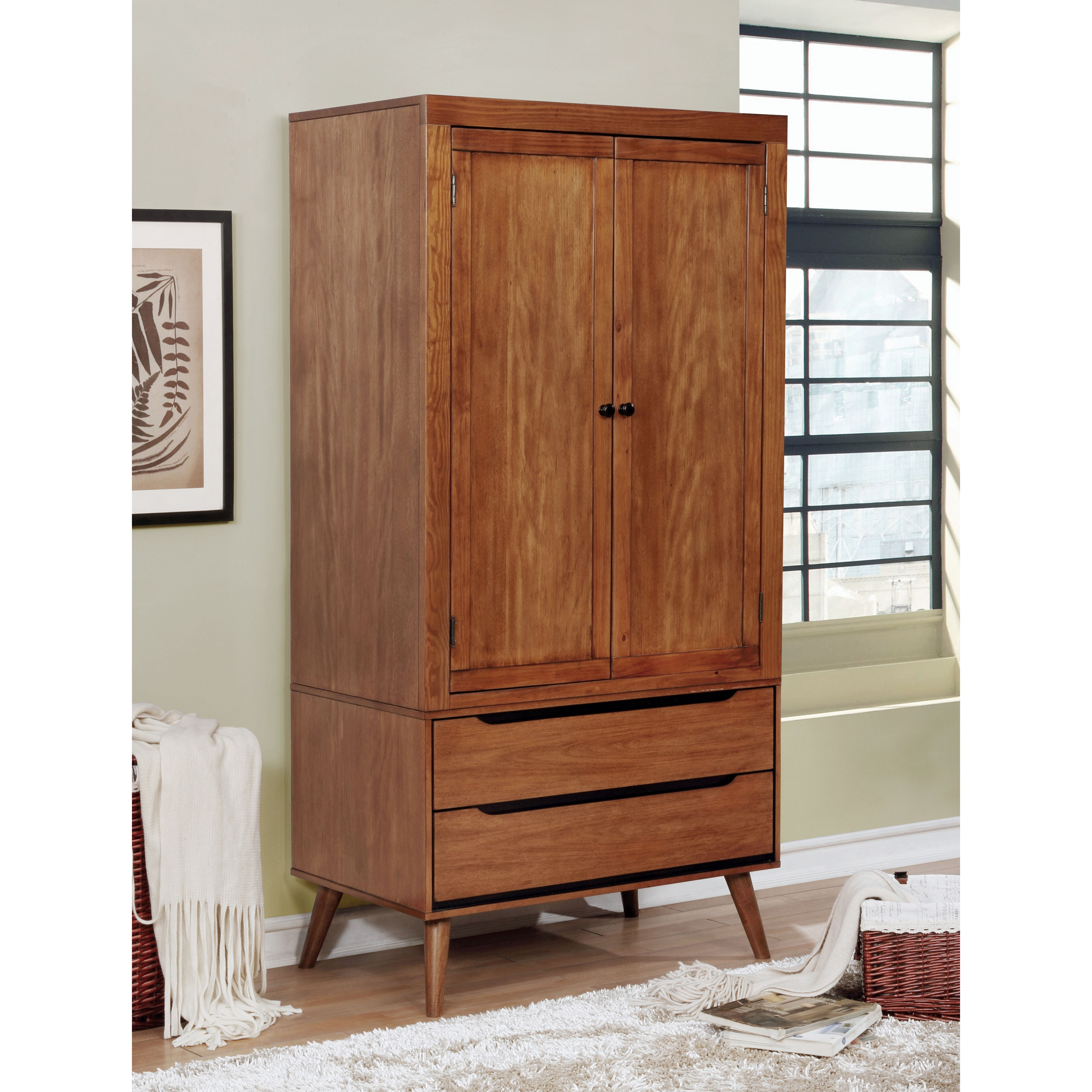 Attrayant Furniture Of America Corrine Mid Century Modern 2 Drawer Double Door  Bedroom Armoire