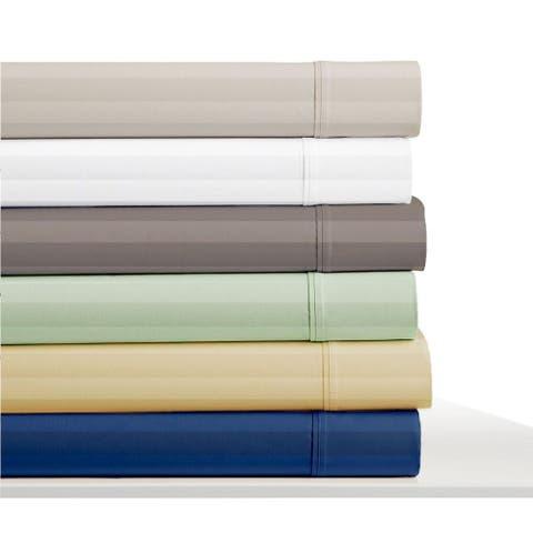 Elle 300 Thread Count Cotton Damask Stripe Bed Sheet Set