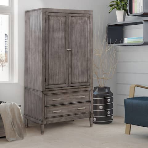 Furniture of America Ropp Transitional Grey Solid Wood Bedroom Armoire