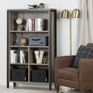 South Shore Munich 6-shelf Bookcase with Cubes, Weathered Oak and Matte Black