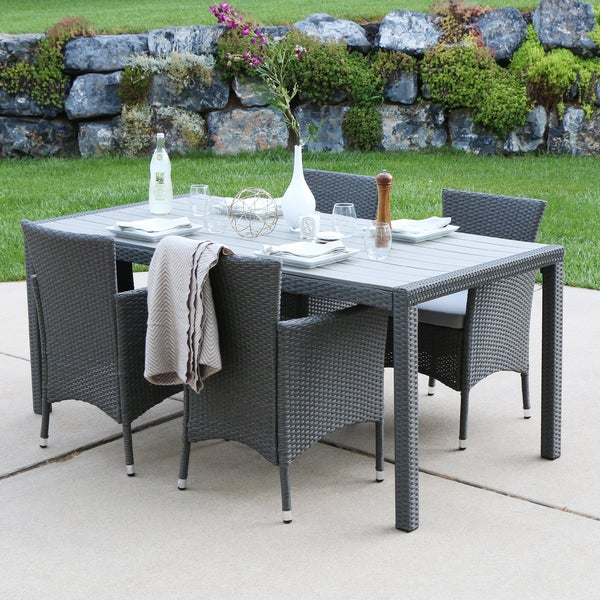 Angelo home 5 piece rattan patio dining set grey free shipping today 20997607 Angelo home patio furniture