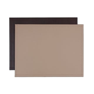 Chocolate and Taupe Faux-leather Reversible Place mat (Set of 2)