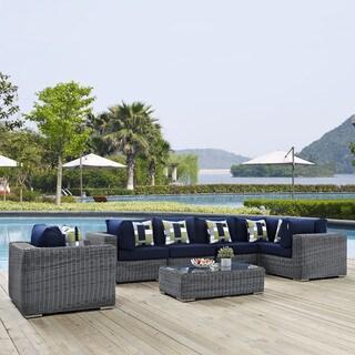 Summon 7-piece Outdoor Patio Sunbrella Sectional Set