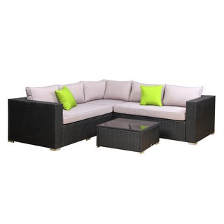 BroyerK Light Grey Rattan Outdoor 4-Piece Corner Sofa Set