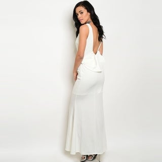 Shop The Trends Women's Sleeveless Long Bodycon Dress With Open Back And Ruffle Detail