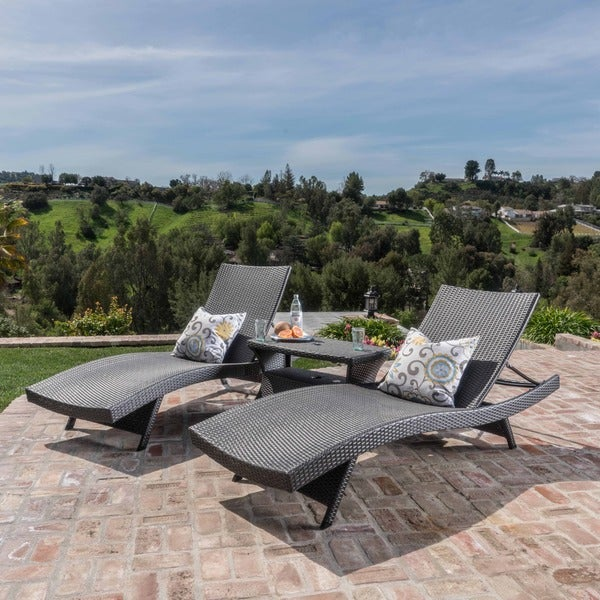 Pacific Outdoor 3-piece Wicker Chaise Lounge Set with Lounge Table by  Christopher Knight Home - Shop Pacific Outdoor 3-piece Wicker Chaise Lounge Set With Lounge