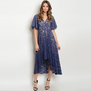 Shop The Trends Women's Short Bell Sleeve High Low Lace Dress With V-Neckline