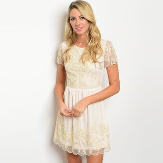 Shop The Trends Women's Short Sleeve Dress With Allover Sheer Mesh Design And Floral Print