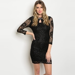 Shop The Trends Women's 3/4 Sleeve Mini Lace Dress With Sparkle Detail And Keyhole Front Opening
