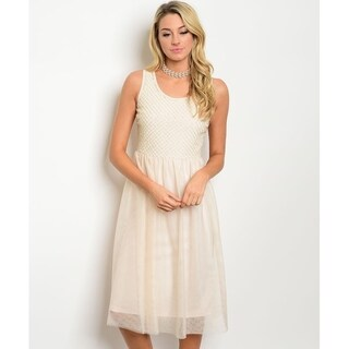 Shop The Trends Women's Sleeveless Tulle Dress With Scoop Neckline And Drop Waist