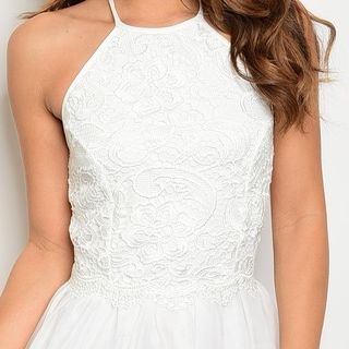 Shop The Trends Women's Sleeveless Halter Dress With Crochet Lace Top And Tulle Bottom