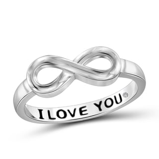 "JewelMore Sterling Silver Diamond Accent ""I Love You"" Infinity Ring"