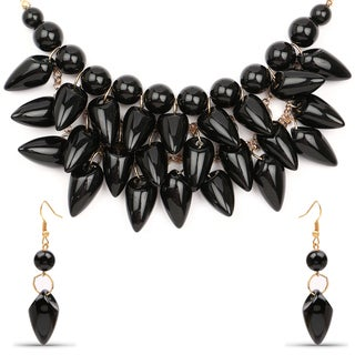 Liliana Bella Gold Plated Black Stone Bib Necklace and Earring Set